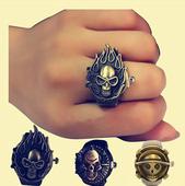 韩版个性海贼王戒指手表男女学生时尚创意翻盖手指表情侣指环表潮