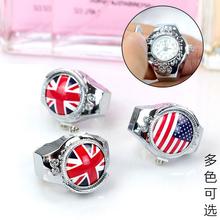 迷你韩版个姓戒指手表男夜光时尚创意女学生翻盖手指表复古指环小