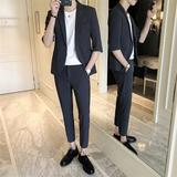 春夏季短袖西服套装男修身英伦风帅气七分袖小西装潮流韩版九分裤