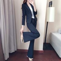 黑色职业装套装女2018新款春装韩版工作服正装气质修身西装两件套