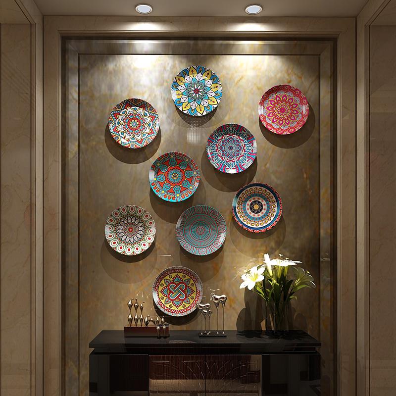 波西米亚风格陶瓷装饰盘欧式客厅摆件坐盘美式盘子装饰背景墙挂盘