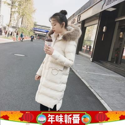 2017冬装新款中长款棉衣韩版宽松型连帽毛领棉服圆环装饰棉袄外套