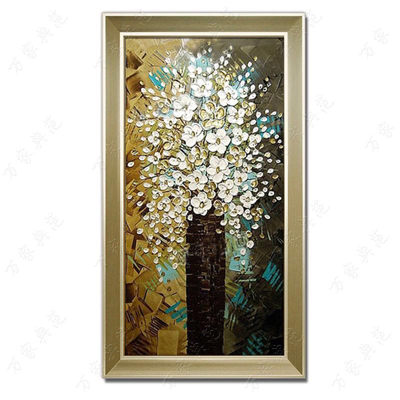 手绘油画发财树立体进门玄关挂画客厅走道现代装饰画欧式壁画竖版