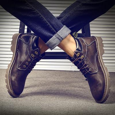 马丁靴男秋潮百搭男士高帮鞋韩版雪地皮靴短靴男靴中帮工装靴子男