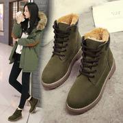 靴子女韩版棉鞋2018新款系带马丁靴冬加绒厚底短靴女式学生雪地靴