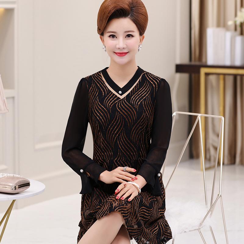 中年女装秋装连衣裙40岁50中老年人长袖夏装妈妈装裙子2018新款女