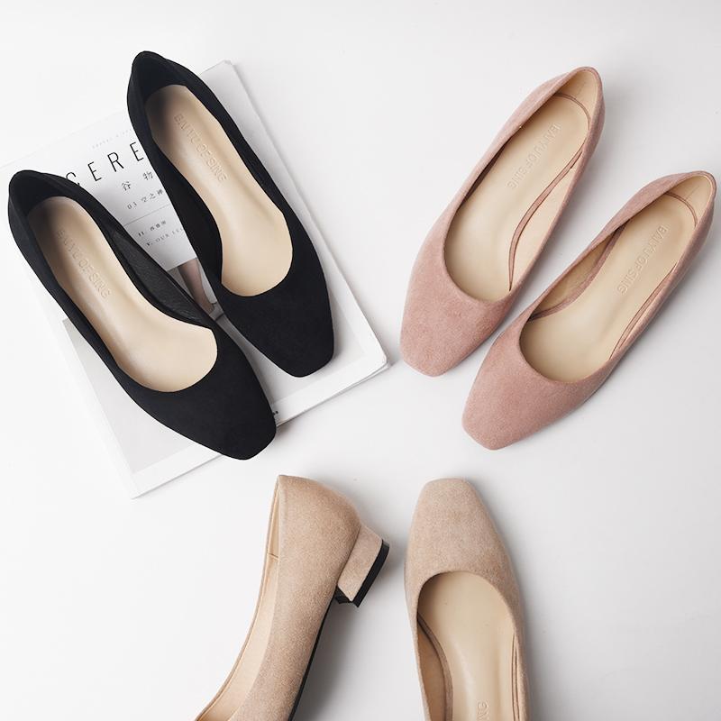 浅口单鞋女平底矮跟