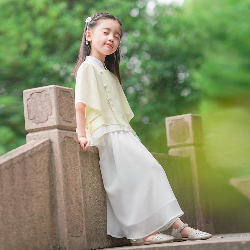 西子问女童汉服夏中国风儒裙儿童唐装宝宝汉服女童套装半身裙微云