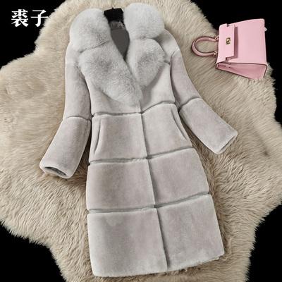 反季节处理羊剪绒皮草外套女中长款狐狸毛领皮草大衣清仓特价冬装
