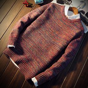 秋冬季高领男士毛衣男韩版宽松针织衫圆领外套加厚打底衫潮流男装