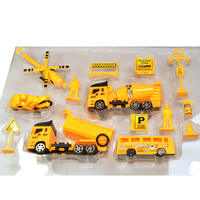Best selling pull back combination engineering vehicle construction project construction site simulation puzzle pull back car model box gift