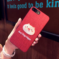 Red embroidery pig iphone6s plus mobile phone shell Apple Xs max this year 8 couple 7 lanyard female XR six seven eight soft rubber sleeve protective sleeve anti-fall new Japanese and Korean pone tide cartoon