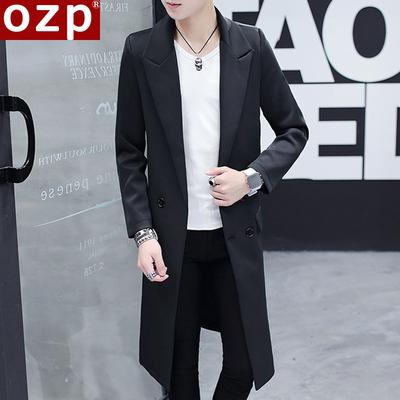 男士外套秋季2017新款韩版修身帅气中长款风衣男秋装休闲过膝披风