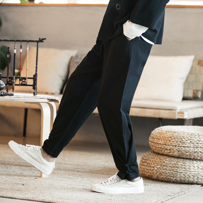 春秋中式汉服古装长裤中国风男灯笼裤哈伦裤宽松休闲裤居士束脚裤