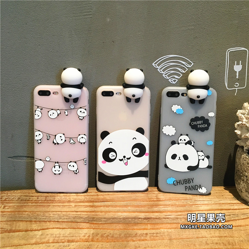 卡通趴趴熊猫iphone6plus手机壳i7plus防摔硅胶挂绳套苹果6s软壳