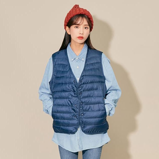 韩国官网代购chuu秋冬复古短款学生棉服外套女装羽绒马夹背心