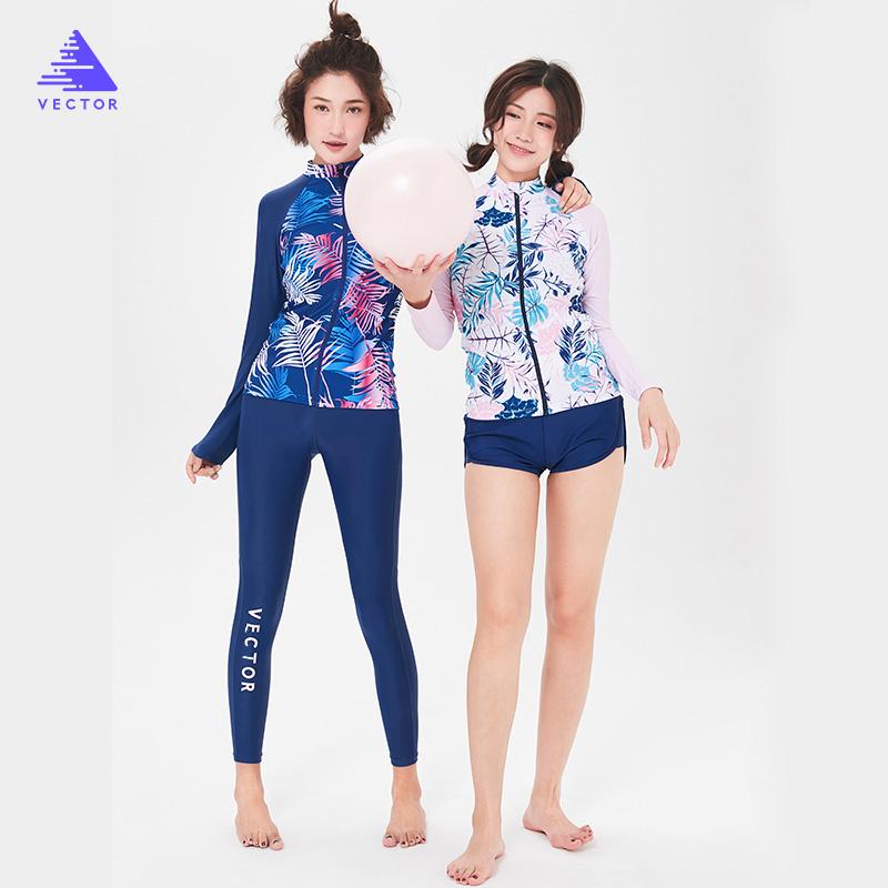 VECTOR潜水服女分体浮潜长袖泳衣保守温泉遮肚保暖防晒冲浪水母衣