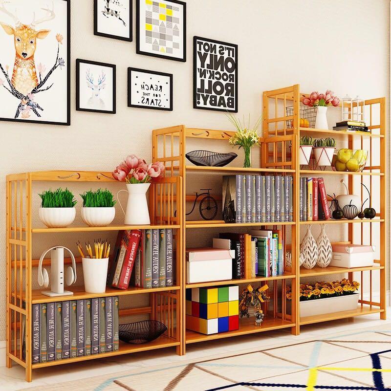 书架多层落地简易学生用简约现代收纳置物架省空间实木竹架子书柜