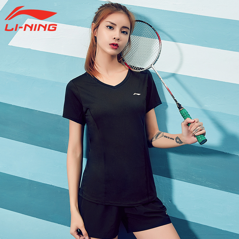 李宁运动短袖透气速干衣女夏瑜伽短袖上衣显瘦V领跑步训练健身服