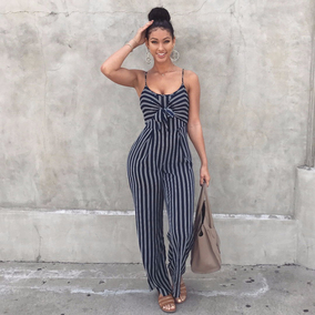 Striped Wide Legs Summer Sleeveless Backless Women Jumpsuit