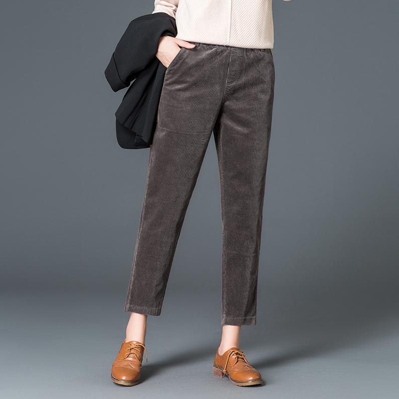 黑色条绒铅笔裤