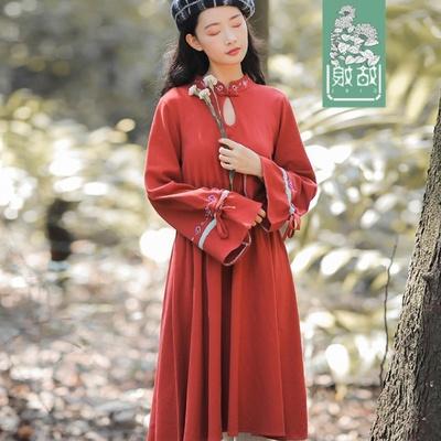 秋冬季 刺绣大学生收腰显瘦裙子甜美高腰枣红色长袖超短裙连衣裙