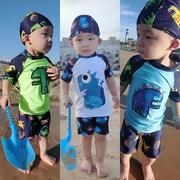 小朋友分体式全身宝宝泳衣男1-3岁 防晒 可爱潮洋气游泳时尚男