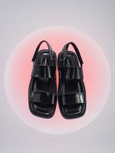 黑色平底罗马条带凉鞋 ppp壳中少女系列