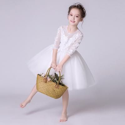女童钢琴演出服花童礼服婚纱公主裙2018新款儿童小主持人蓬蓬纱裙