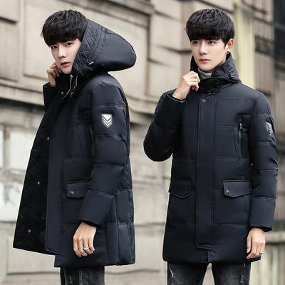 2018冬新款男士羽绒服男中长款韩版修身连帽青年潮流加厚大码外套