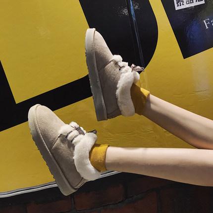 网红一脚蹬雪地靴女可爱短筒加厚加绒2018新款冬学生面包保暖棉鞋