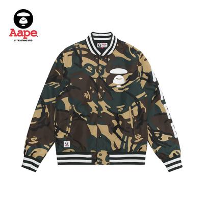 Aape男装春夏猿颜印花撞色字母贴布迷彩棒球夹克外套7282XAC