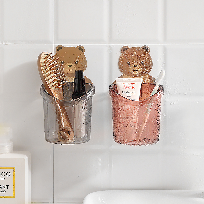 卫生间置物架免打孔浴室洗漱台壁挂式梳子收纳盒牙膏牙刷筒收纳架