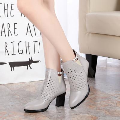 春秋女鞋2017新款全牛皮网靴高跟皮鞋时尚镂空透气单靴子真皮短靴