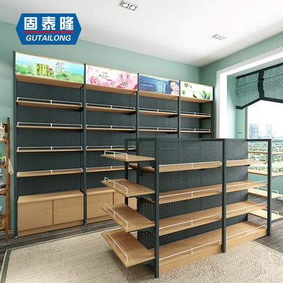 钢木货架木质展架精品超市展柜便利店高柜钢木结合边柜中岛货架子