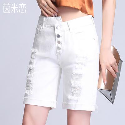 茵米恋破洞女士牛仔短裤2018夏季新款五分裤宽松韩版显瘦高腰白色