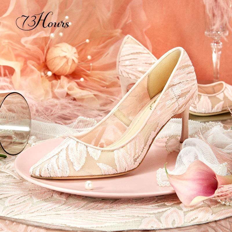 细跟蕾丝高跟鞋