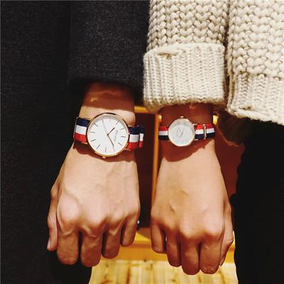 韩国ulzzang原宿风学生情侣手表一对韩版潮流时尚复古尼龙帆布带哪个品牌好
