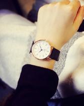 正品防水双日历皮带手表男士时尚潮流超薄石英表学生夜光休闲腕表