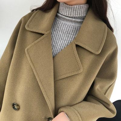 2018秋冬新款双面羊绒大衣女中长款高端宽松赫本风流行羊毛呢外套