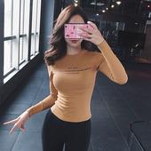 网红健身服女秋冬运动上衣显瘦瑜伽服圆领跑步速干衣紧身训练长袖