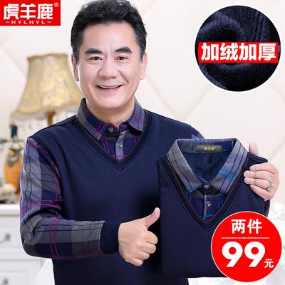 加绒毛衣男中年冬装爸爸针织毛衫中老年加绒加厚假两件男40-50岁