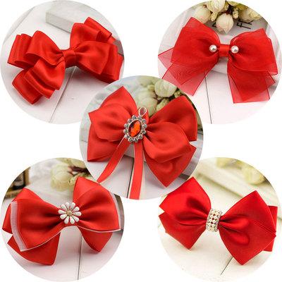 女孩头花饰品 蝴蝶结发夹 甜美可爱少女红色表演服饰配饰头饰发饰