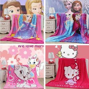冰雪奇缘索菲亚公主KT猫女孩卡通法莱绒毯子冬保暖珊瑚绒床单单件