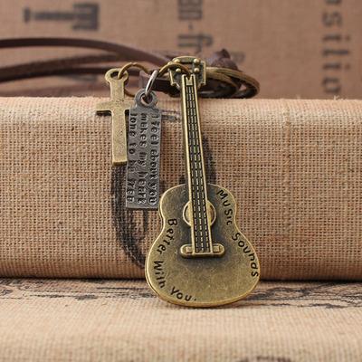 日韩风时尚饰品吉他乐器合金音符吊坠男女生长款毛衣链绒皮绳项链