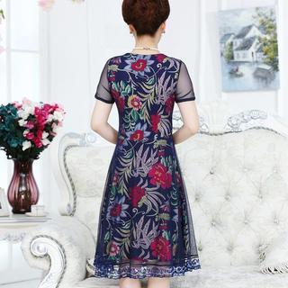 春季夏装中老年妈妈装裙子连衣裙40-50岁中长款中年妇女短袖女装