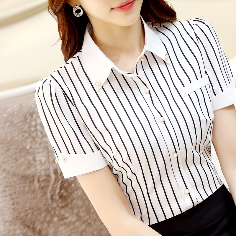 short-sleeved striped shirt female summer large professional dress half-sleeved business lady Black and white bar