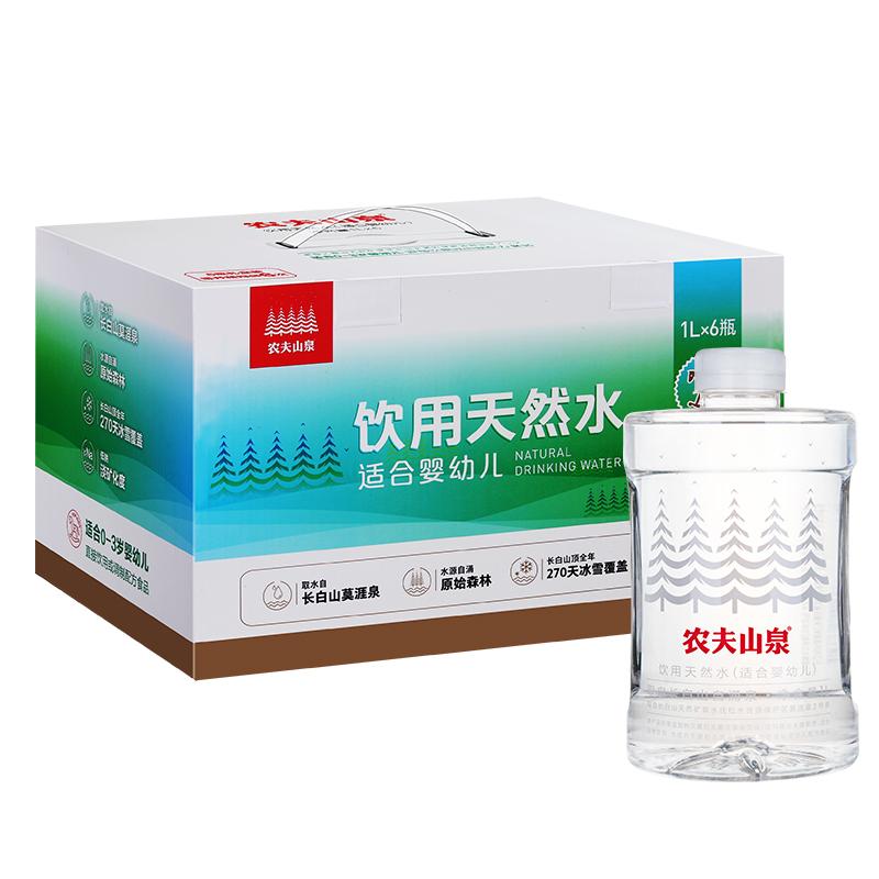 农夫山泉婴儿水1L*6瓶 礼盒装 母婴水 天然弱碱性水矿泉水 包邮