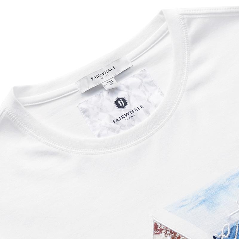 马克华菲短袖t恤男士圆领韩版修身2018夏季新款刺绣纯棉半袖体恤
