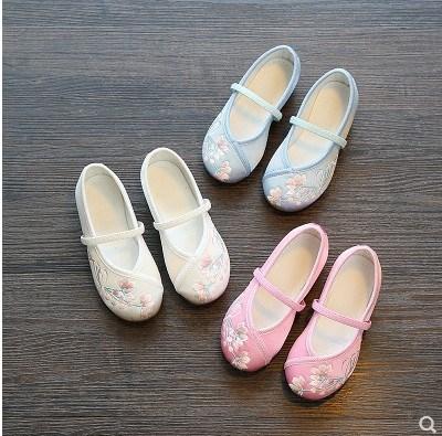 防滑白色汉服鞋子 女童 绣花鞋配汉服浅口婴幼儿个性宝宝鞋防臭潮